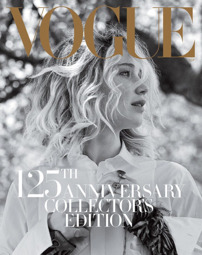 Portada revista Vogue September Issue Jennifer Lawrence fotografiada por Bruce Weber   EstiloMarqués